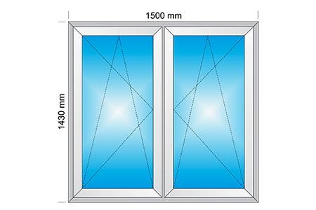 Plotis 1500 x Aukštis 1430